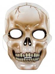 Totenschädelmaske für Halloween Kostümzubehör weiss-braun