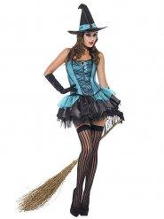 Verführerische Hexe Halloween Damenkostüm türkis-schwarz