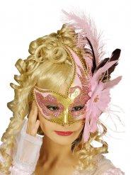 Venezianische Maske mit Federn und Pailletten rosa Erwachsene