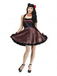 Süßes 50er-Jahre Rockabilly-Kleid mit Kirschen-Print schwarz-rot