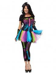 Skelett Damen-Kostüm für Halloween bunt
