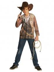 Cowboy-Spielshirt für Kinder Western-Kostümzubehör braun-beige