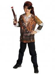 Piraten-Spielshirt für Kinder Kostümzubehör braun-beige