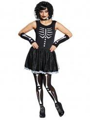 Skelettkostüm für Damen Halloween schwarz-weiss