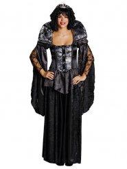 MIttelalterliches Gothic-Kostüm für Damen schwarz-silber