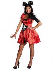 Sexy Zombie-Maus-Kostüm für Damen rot-schwarz-weiß