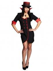 Stilvolles Vampir-Kostüm für Damen rot-Schwarz