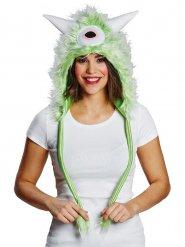 Flauschige Monster-Mütze mit Hörnern weiß-grün