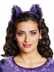 Haarreif mit Fledermaus Ohren für Damen violett