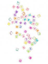 Deko-Perlen Loom Beads mit Buchstaben Partyzubehör 50 stück weiss-bunt