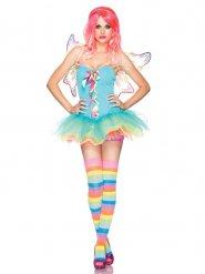 Fee-Kostüm für Damen Regenbogenfarben