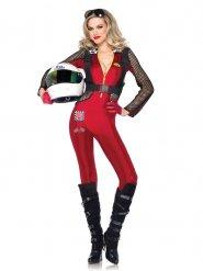 Sexy Rennfahrerinnen-Kostüm rot schwarz