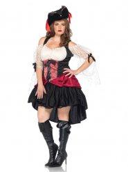 Barock Piratin Damen-Kostüm rot-weiß-schwarz Plus Size