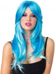 Blaue Meerjungfrauen Perücke für Damen