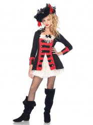 Piratin Seeräuberin Teenager-Mädchenkostüm schwarz-rot-weiss