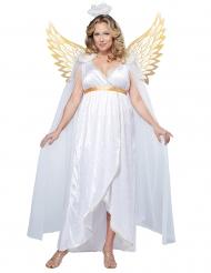 Zauberhaftes Engel-Kostüm für Damen Übergröße weiss-gold