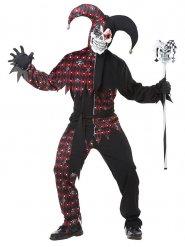 Verrücktes Harlekin Kostüm für Herren schwarz-rot