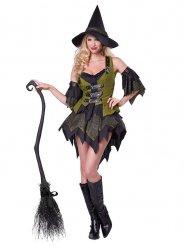 Glamouröse Hexe-Magierin Damenkostüm schwarz-grün