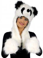 Panda-Kapuze ausgestopft mit integrierten Handschuhen