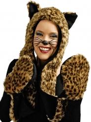 Mütze mit Leopardenhandschuhen