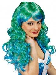 Lange grüne und türkise Perücke Meerjungfrau Damen
