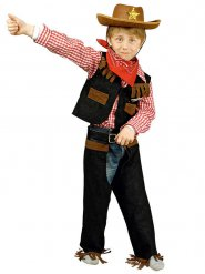 Kleiner Sheriff-Kinderkostüm Cowboy schwarz-braun-rot