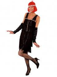 Charleston 20er-Jahre Kostüm für Damen schwarz-silber