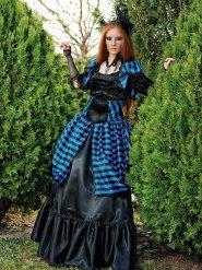 Viktorianische Vampirin Kostüm für Damen Vintage schwarz-blau