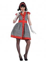 Rockabilly 50er-Jahre-Kleid mit Karomuster schwarz-weiss-rot