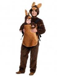 Känguru Mutter-Kind Kostüm aus Plüsch braun