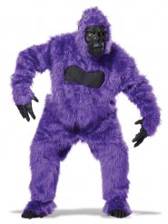 Gorilla Kostüm Overall Tier-Verkleidung schwarz-lila