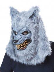 Werwolf-Maske mit Fell für Erwachsene grau