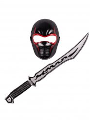 Ninja Set rot und schwarz Kinder