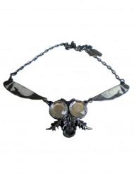 Gothic-Halskette Fliege für Damen silber-schwarz