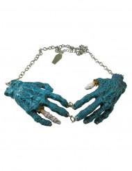 Gothic-Halskette Zombiehände Halloween-Schmuck silberfarben-blau