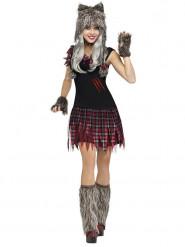 Halloween Werwolf Damen-Kostüm - Grau/Rot
