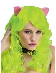 Giftgrüne Perücke mit Katzenohren für Erwachsene
