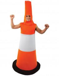 Leitkegel humorvolles Kostüm für Erwachsene weiss-orange-schwarz