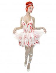 Zombie-Ballerina Halloween Damenkostüm blutig weiss-rot