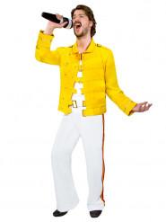 Rockstar-Herrenkostüm 80er-Jahre weiss-gelb