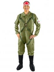 Japanisches Kampfpilotenkostüm für Herren grün-weiss-rot