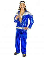 80er Jahre Jogginganzug Kostüm für Herren Metallic-Blau