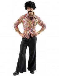 Disco-Herrenkostüm 70er-Jahre schwarz-bunt