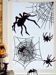 Halloween-Set - 24 Spinnen-Aufkleber - schwarz