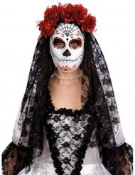 Maske dia de los muertos mit roten Rosen Erwachsene Halloween