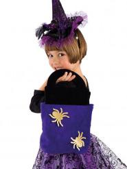 Süßigkeiten-Tasche Trick or Treat Spinnenmotiv Halloween Schwarz-lila-gelb