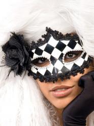 Barock Maske Harlekin schwarz weiß silber Halloween