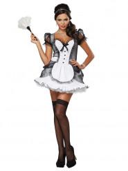 Sexy Zimmermädchen Kostüm für Damen schwarz-weiss