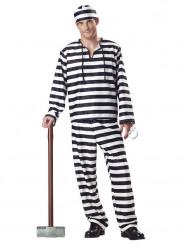 Gefangenen-Kostüm Sträfling für Herren weiss-schwarz