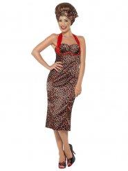 50er-Jahre-Kleid mit Haarband und Kirschen-Print schwarz-rot